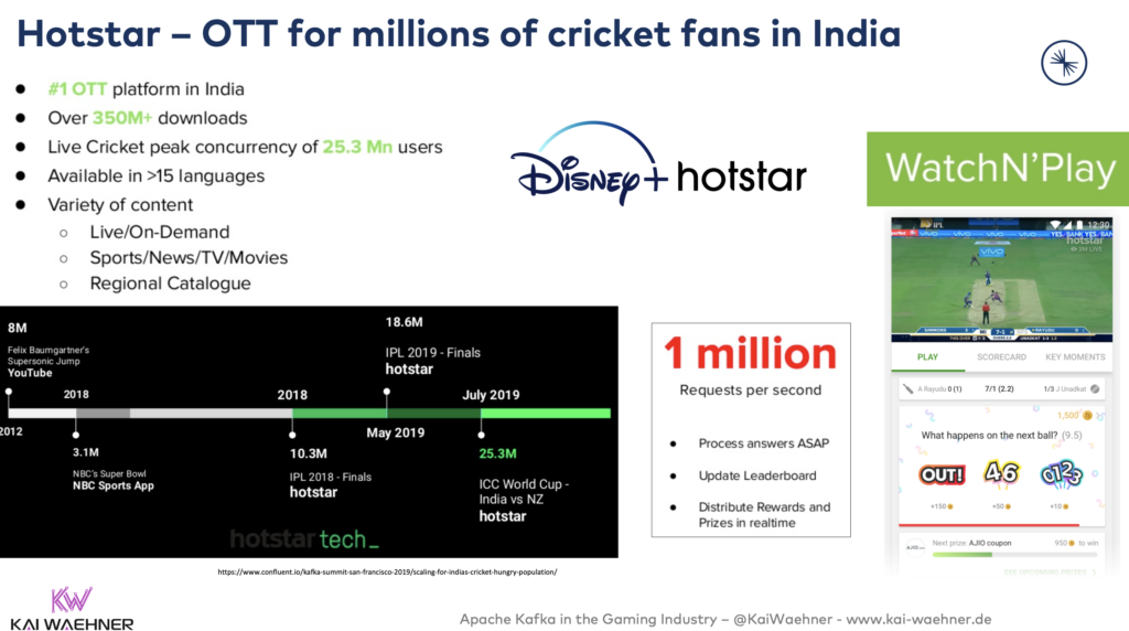Hotstar Telco OTT for millions of cricket fans in India with Apache Kafka