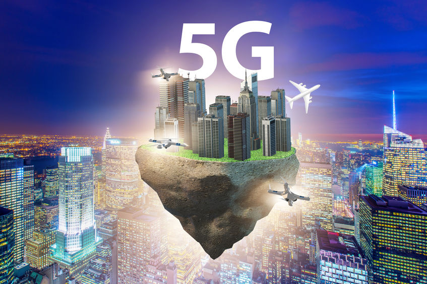 Concept of 5g technology with floating island