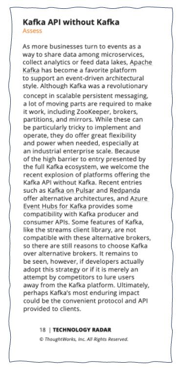 Kafka API without Kafka - Thoughtworks Technology Radar