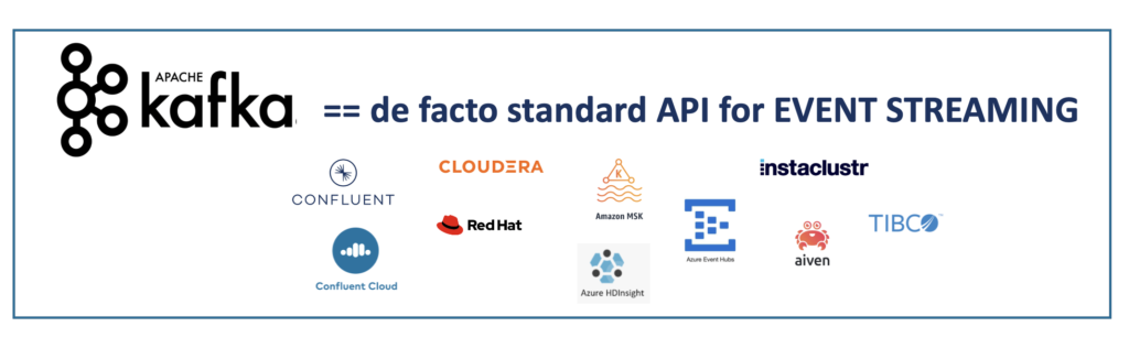 Apache Kafka is the Open Source De Facto Standard API for Event Streaming and Data in Motion