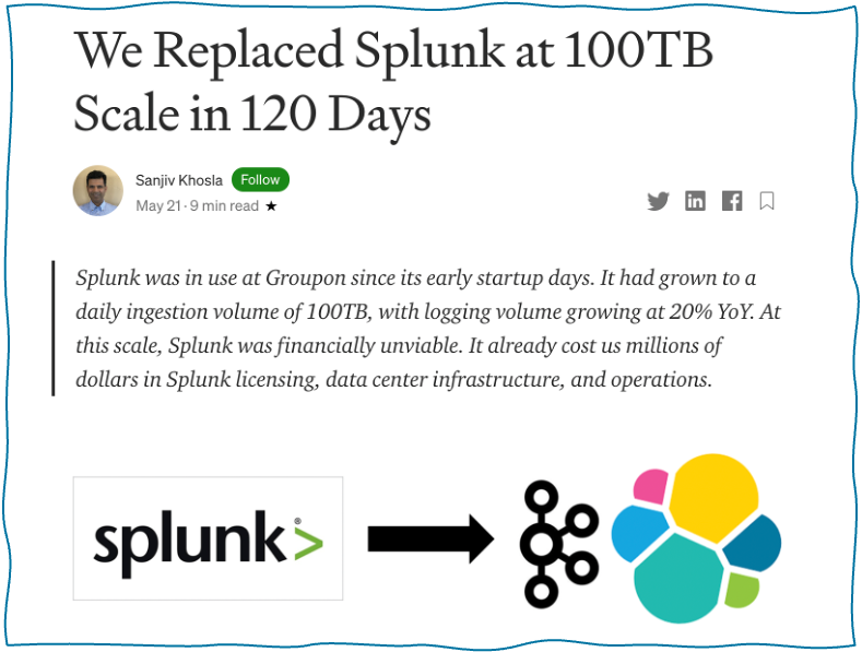 Splunk SIEM Replacement with Kafka and Elasticsearch at Groupon
