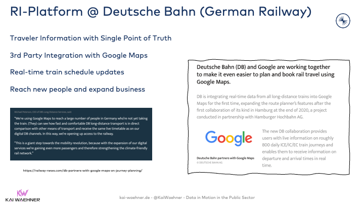 Mobility Service for Traveler Information at Deutsche Bahn with Apache Kafka and Google Maps Integration